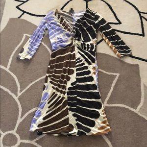 New Issa Fan Print Silk Jersey Dress 8